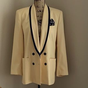 KASPAR Double-Breasted Yellow & Navy Blue Blazer